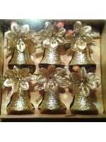 Новогодние елочные игрушки колокольчики золотые