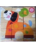 Кубики деревянные 9 штук животные