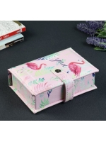 Кейс шкатулка сундучок ларец для драгоценностей и украшений кожзам Фламинго на кнопке 4,5х15,5х10,5 см