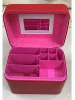 Кейс шкатулка органайзер для косметики и украшений малиновый чемоданчик