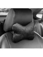 Подушка автомобильная для шеи косточка велюр черная