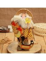 Оберег-домовой Славуся в соломенной шляпе с луком и подковой 35 см