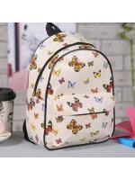 Рюкзак детский Бабочки 21х15х28 см отдел на молнии 3 накладных кармана молочный