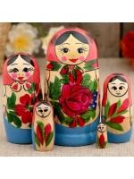 Матрешка Семёновская розовый платок 5 в 1 10 см