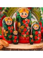 Матрешка Хохлома Краса России 5 в 1 размер 15 см