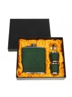 Подарочный набор 4 в 1 Рептилия фляжка фляжка 210 мл воронка 2 рюмки зелёный 17х18 см