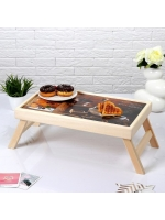 Столик складной деревянный для завтрака Доброе утро кофе с круассаном 48 х 28 см