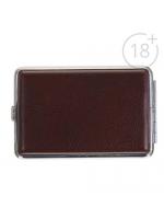 Портсигар подарочный прямоугольный под кожу темно-коричневый