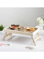 Столик складной деревянный для завтрака Доброе утро кофе с пироженкой 48 х 28 см