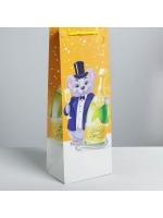 Пакет подарочный под бутылку крафтовый Поздравляю! с мышкой 13 × 36 × 10 см
