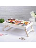 Столик складной деревянный для завтрака С добрым утром фрукты 48 х 28 см