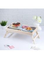 Столик складной деревянный для завтрака Доброго утра, пончики 48 х 28 см