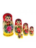 Матрешка Розочка красный платок 6 кукольная 12 см