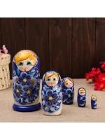 Матрешка 5 в 1 Нина синяя 5 кукольная 15 см
