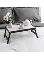 Столик для завтрака складной Ренессанс 50 х 30 см массив ясеня цвет черный