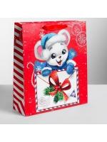 Пакет подарочный новогодний ламинированный вертикальный Почта мышки 26 × 30 × 9 см