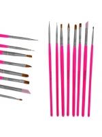 Набор кистей для дизайна ногтей 8 штук цвет розовый