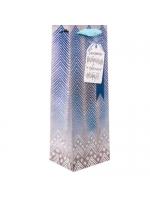 Пакет подарочный под бутылку крафтовый Снежного настроения и чудесных подарков 12 × 36 × 10 см