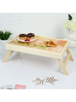 Столик складной деревянный для завтрака Дорогой мамочке герберы 48 х 28 см