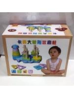 Деревянная игрушка фигурки на стойке пять стоек с геометрическими фигур основных цветов с отверстием Слоник