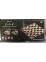 Набор 2 в 1 шашки шахматы нарды пластиковые магнитные 36х18,5х4,5 см черные