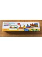 Деревянная игрушка фигурки на стойке пять стоек с геометрическими фигур