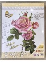Фотоальбом 200 фото 10х15 см серия 4D Розы с бабочкой на светлом