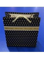 Пакет подарочный ламинированный черный в золотой горошек 15 х 15 см