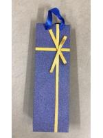 Пакет подарочный под бутылку ламинированный синий с бантиком 9 x 35 x 11 см