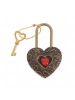 Свадебный замок с ключиком резной Любовь сердце красная страза