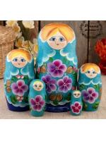 Матрешка Фиалки голубое платье 5 кукольная 18 см