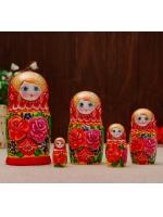 Матрешка Розочка бордовый платок 5 кукольная 18 см