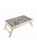 Столик для завтрака складной Камни стеклянная поверхность 50 х 30 см без ручек