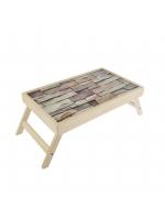 Столик для завтрака складной Кладка стеклянная поверхность 50 х 30 см без ручек