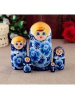 Матрешка Гжель синее платье 5 кукольная 15 см