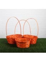 Набор корзин плетёных оранжевые бамбук 3 штуки