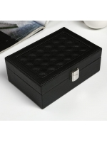 Кейс шкатулка сундучок ларец для драгоценностей и украшений кожзам Крупная клетка чёрная матовая 7,5х20х14 см