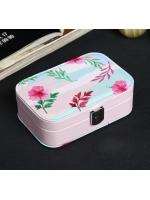 Кейс шкатулка сундучок ларец для драгоценностей и украшений кожзам Розовый цветок 5х10х15 см