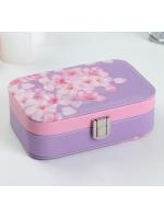 Кейс шкатулка сундучок ларец для драгоценностей и украшений кожзам Розовые цветы на сиреневом 5х15х10 см
