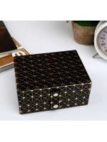 Кейс шкатулка сундучок ларец для драгоценностей и украшений кожзам Вспышка чёрная с золотом 6,5х13,5х10,5 см