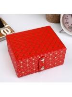 Кейс шкатулка сундучок ларец для драгоценностей и украшений кожзам Вспышка красная с золотом 6,5х13,5х10,5 см