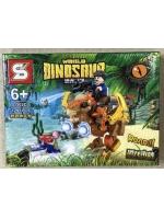 Конструктор Dinosaur 1502C Динозавр коричневый с наездником Вооруженный Пахицефалозавр