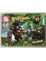 Конструктор Dinosaur 1504B Динозавр коричневый с пушкой 228 деталей