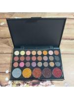 Набор теней палитра для макияжа 24 цвета и 5 цветов с блестками