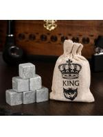 Набор камней для виски King 6 шт в текстильном мешочке