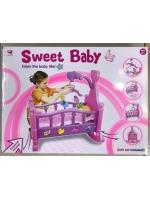 Кроватка для кукол детская Sweet Baby качалка с мобилем