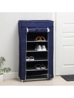 Полка для обуви 6 ярусов 57×28×107 см цвет синий