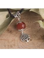 Амулет Сердолик Дерево жизни на шнурке с камнем и магическим символом