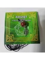 Амулет Яшма на привлечение удачи на шнурке с камнем и магическим символом