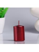 Свеча цилиндр парафиновая цвет Красный металлик 4х6 см
